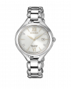 Reloj Citizen ew2560-86a ecodrive, super titanio para mujer, esfera blanca con cuatro diamantes, movimiento e013 tres agujas