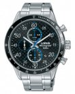 Reloj Lorus rm333ex9 para hombre en acero esfera en negro toques en azul con bisel en negro, cronógrafo, calendario, movimiento japones vd57